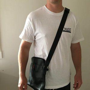FEGER Mens Black Leather Crossbody Messenger Bag